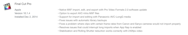FCPX 10.1.4 info